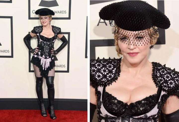 Madonna en la alfombra roja de los Premios Grammy 2015