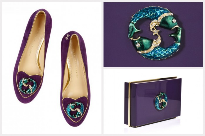 CHARLOTTE OLYMPIA CHARLOTTE OLYMPIA Pisces suede slippers, 595€ – CHARLOTTE OLYMPIA Pisces Pandora Perspex clutch, 795€
