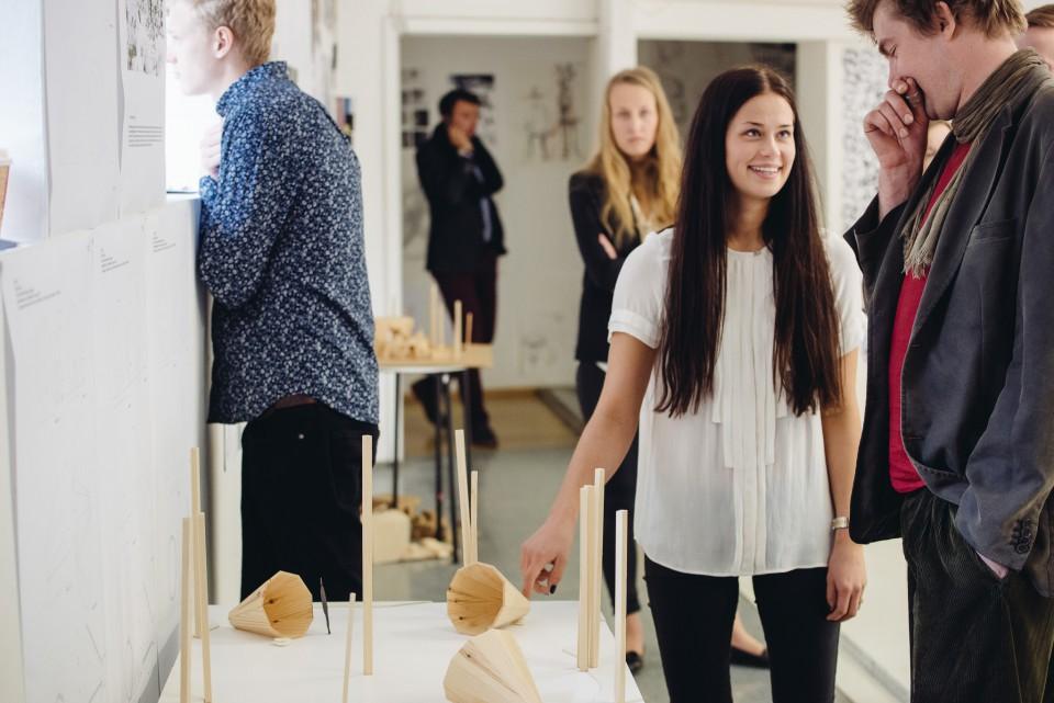 Estonian talented student Birgit Õigus discuss in front of a model of 'Ruup'.