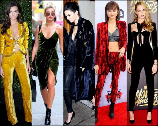 terciopelo, velvet, looks, celebrities, trend, tendencia, fall 2016, otoño 2016, invierno 2017