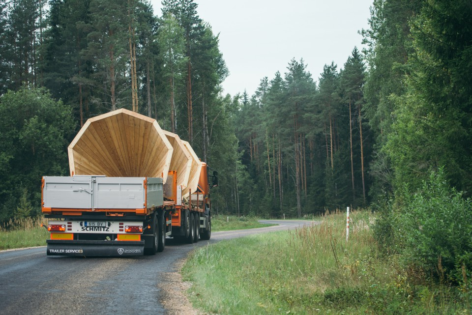 The three giant megaphones being transported to the Voru County forest, near the Latvian border.
