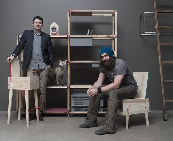 Tonis Kalve and Ahti Grünberg, founders of the brand Derelict Furniture based in Tallinn.