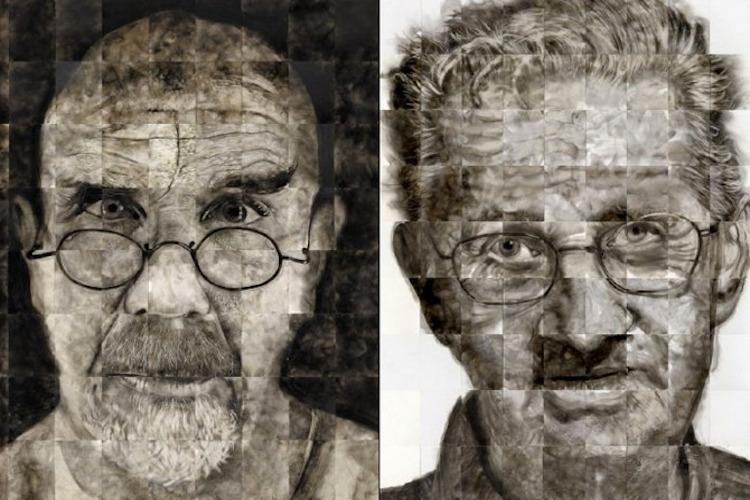 """""""Chuck"""" 2007 y """"Jerry"""" 2011. Dos retratos en los que emplea la superposición de papeles continuos."""