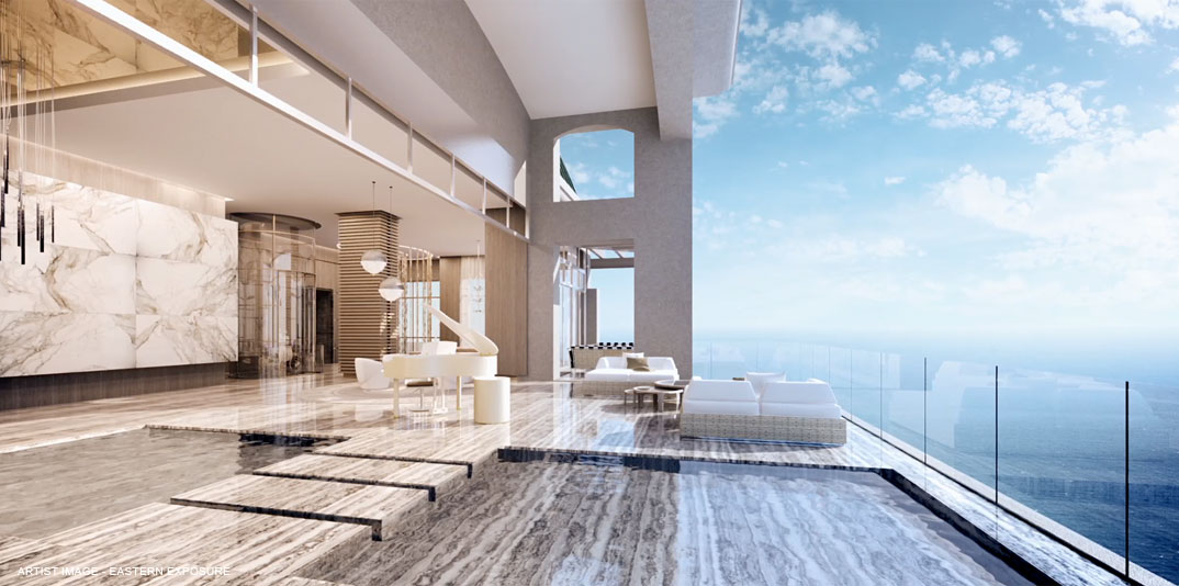 Karl Lagerfeld interiorism designer lobby Estates at acqualina miami