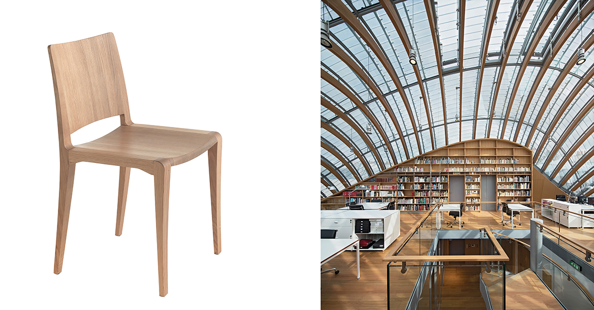 The chair Piano Design Chair (2014) and the building Fondation Jérôme Seydoux-Pathé (France, 2014) by Renzo Piano