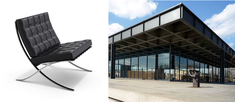 The Barcelona chair (1929) by van der Rohe and the Neue Nationalgalerie (Berlin, 1968)