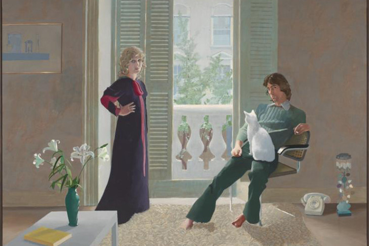 Mr and Mrs Clark and Percy, painted in 1971 by Hockney