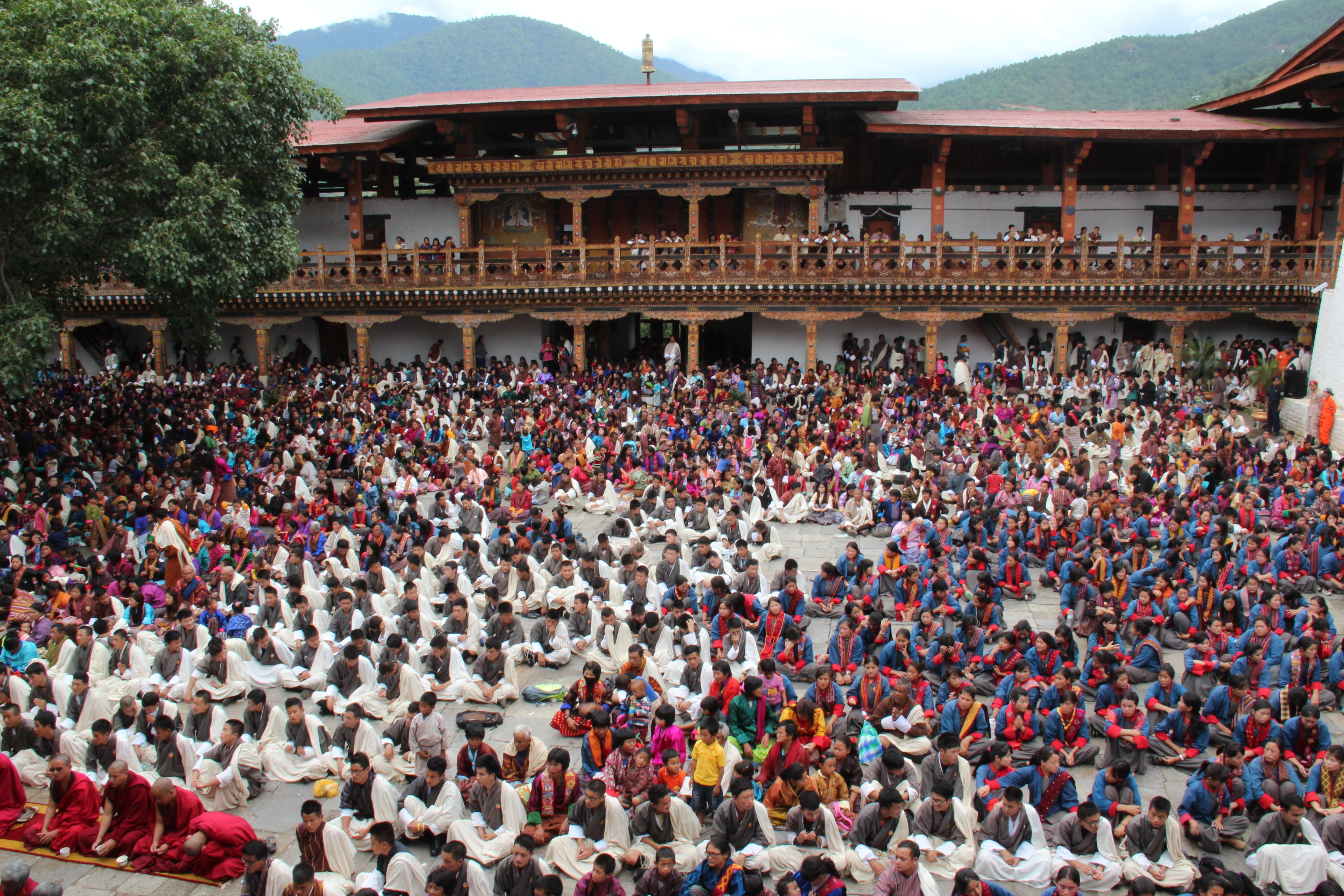 Ceremonia en el dzong the Punakha