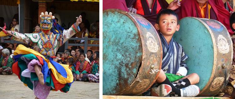 """Los festivales religiosos o """"tshechus"""" son unos de los eventos más importantes para los butaneses y a ellos acuden los habitantes de las poblaciones, no solo por su componente religioso sino además como una oportunidad para socializar y visitar a la familia"""