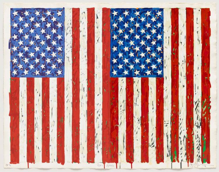 Las icónicas banderas realizadas por Jasper Johns en 1973 presentes en el British