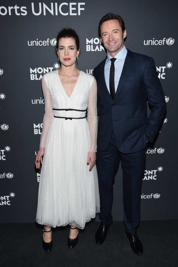 NEW YORK, NY - APRIL 03: Charlotte Casiraghi (L) and Hugh Jackman attend the Montblanc & UNICEF Gala Dinner at the New York Public Library on April 3, 2017 in New York City. (Photo by Dimitrios Kambouris/Getty Images for Montblanc)
