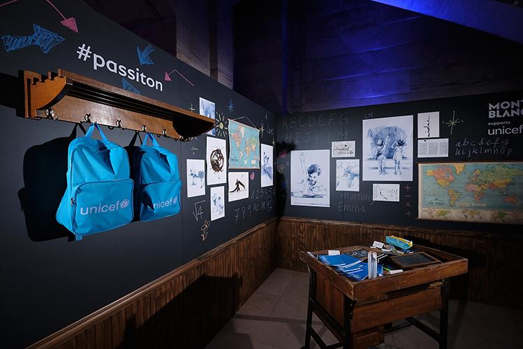 Exposición sobre la colaboración de UNICEF y la firma Montblanc