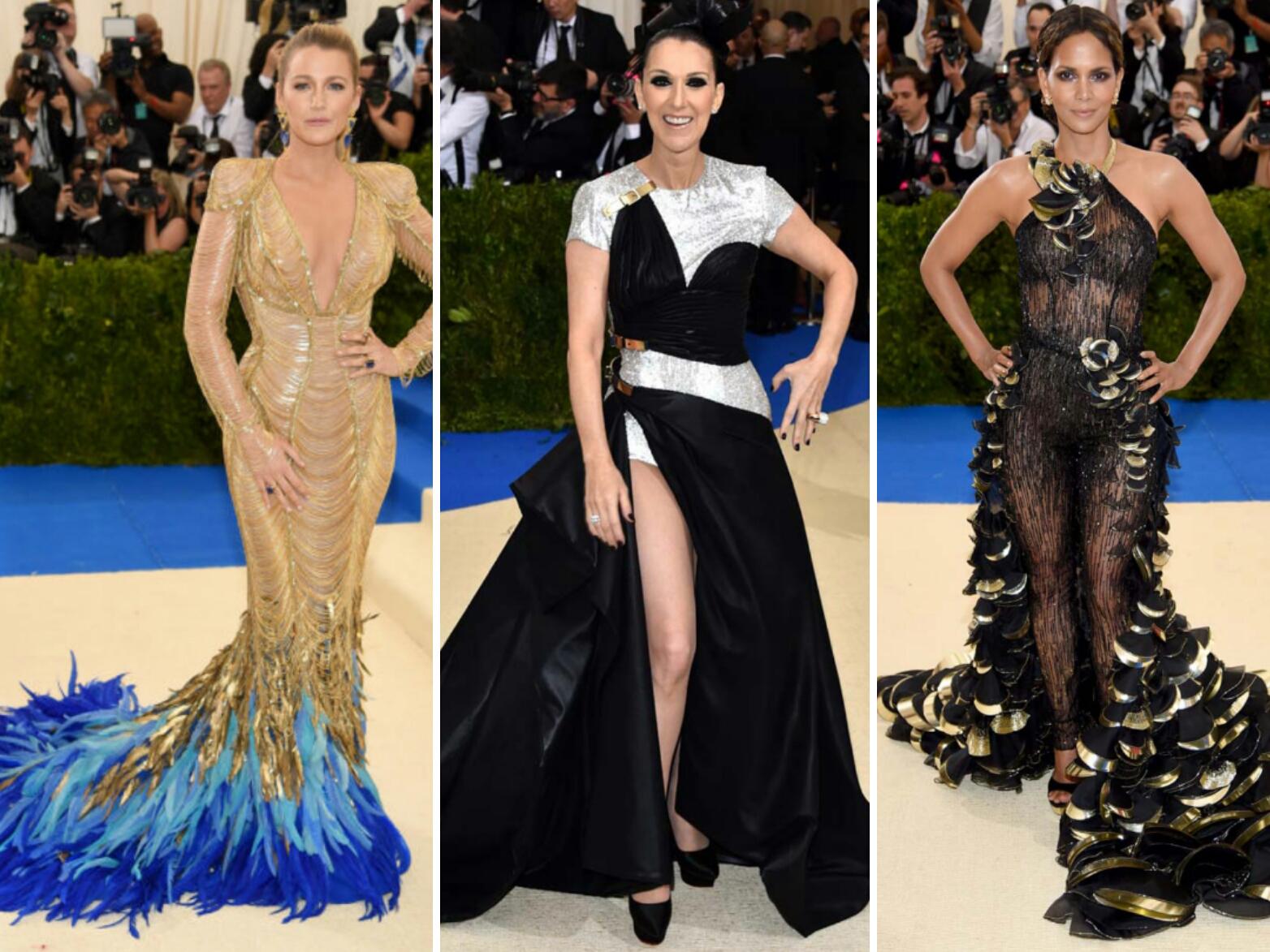 Met Gala red carpet 2017Blake Lively, Celine Dion y Halle Berry con vestidos de Versace