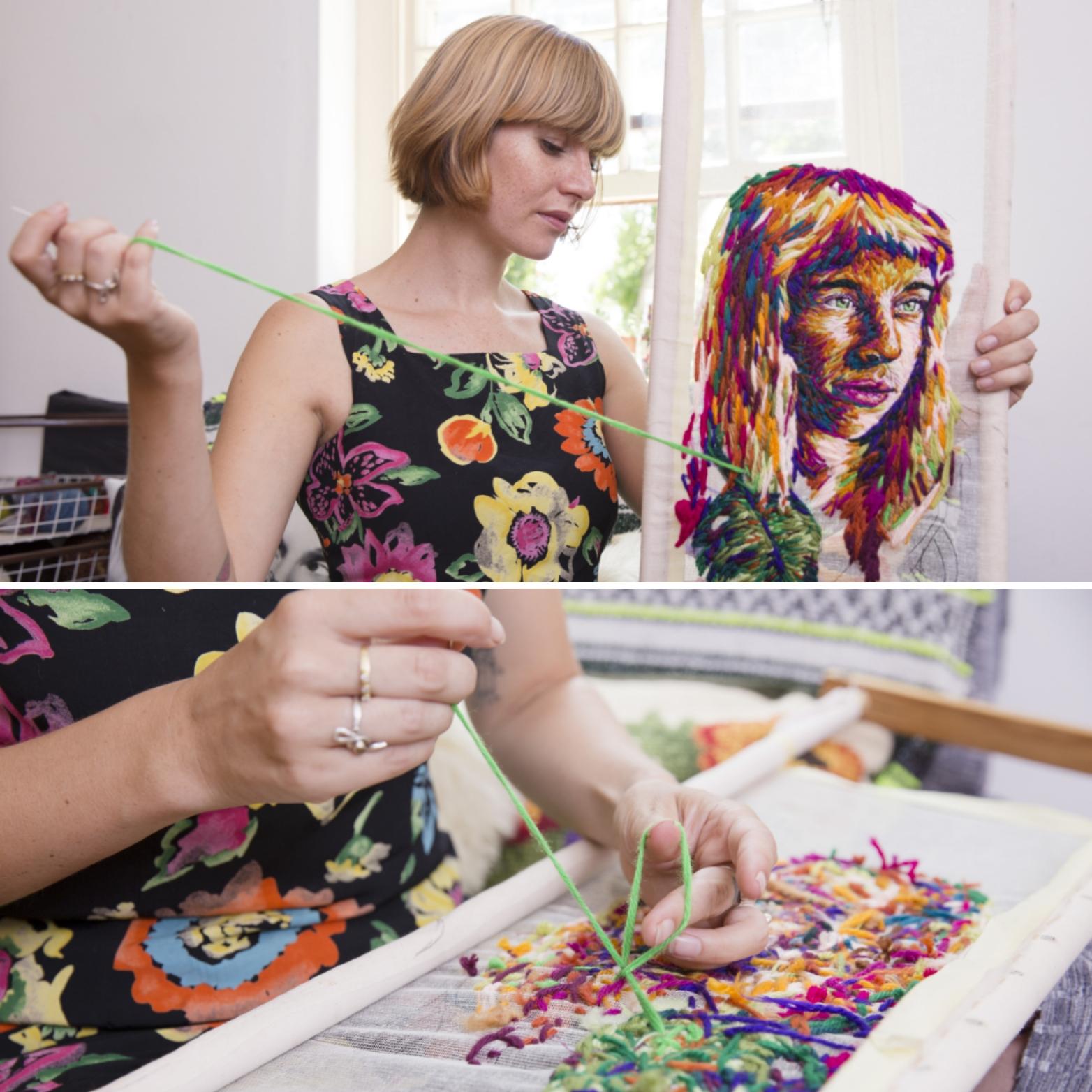 Danielle Clough working in her studio Photo by Lesca Lea