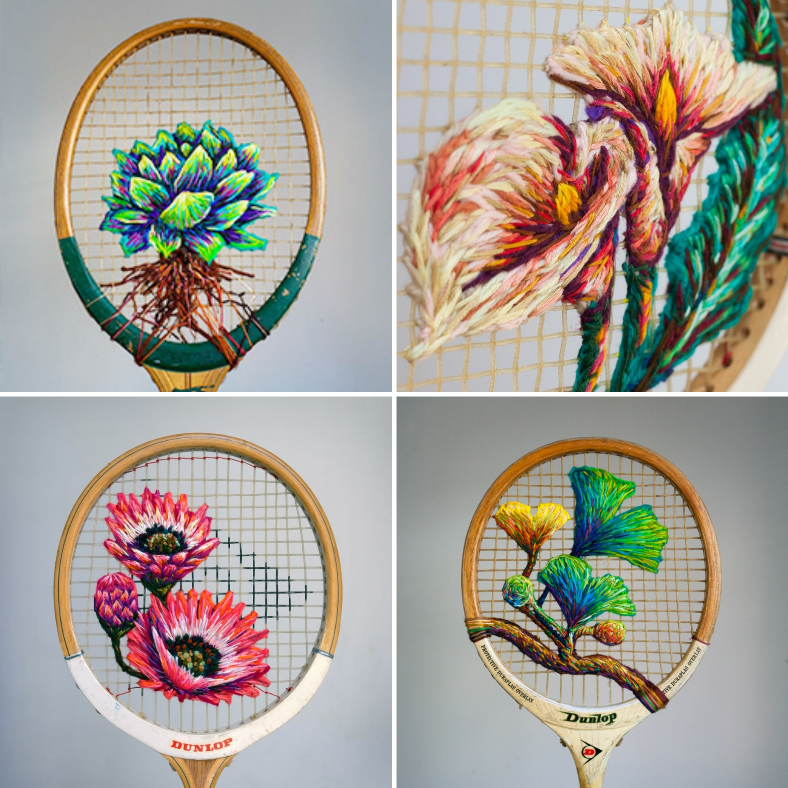 Danielle Clough creates her embroideries on the nets of the rackets
