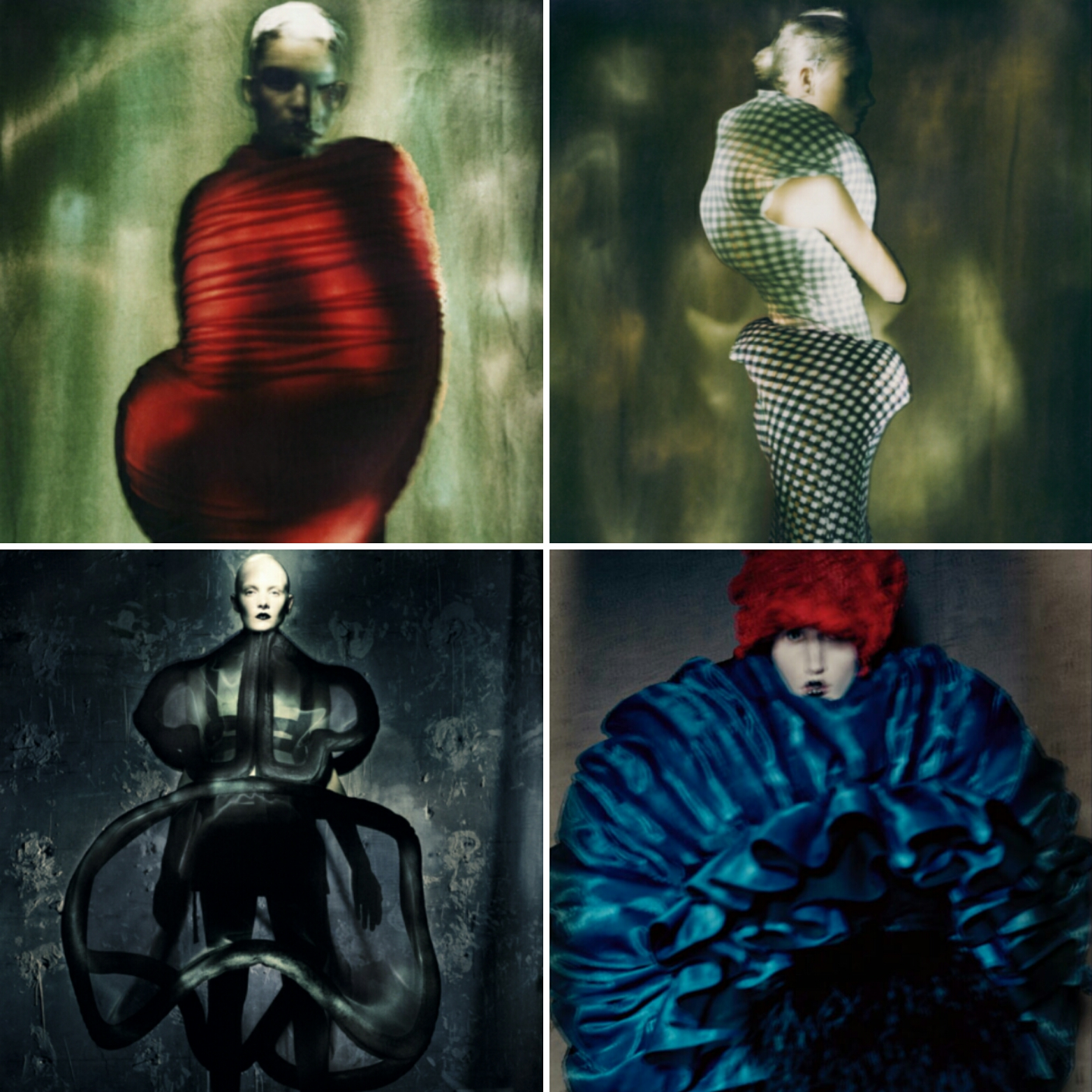 """Diseños de Rei Kawakubo para Comme des Garçons. Las dos fotos de arriba pertenecen a la colección """"Body Meets Dress, Dress Meets Body"""" de verano 1997. Abajo izq. colección """"Not making Clothing"""" del verano 2014 y su derecha """"Blue Witch"""" verano 1997. Fotos de Paolo Roversi"""