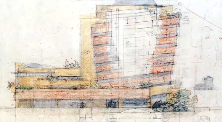 Dibujos de Frank Lloyd de su Museo Guggenheim de Nueva York, conservado en otro de los grandes museos neoyorquinos, el MoMA
