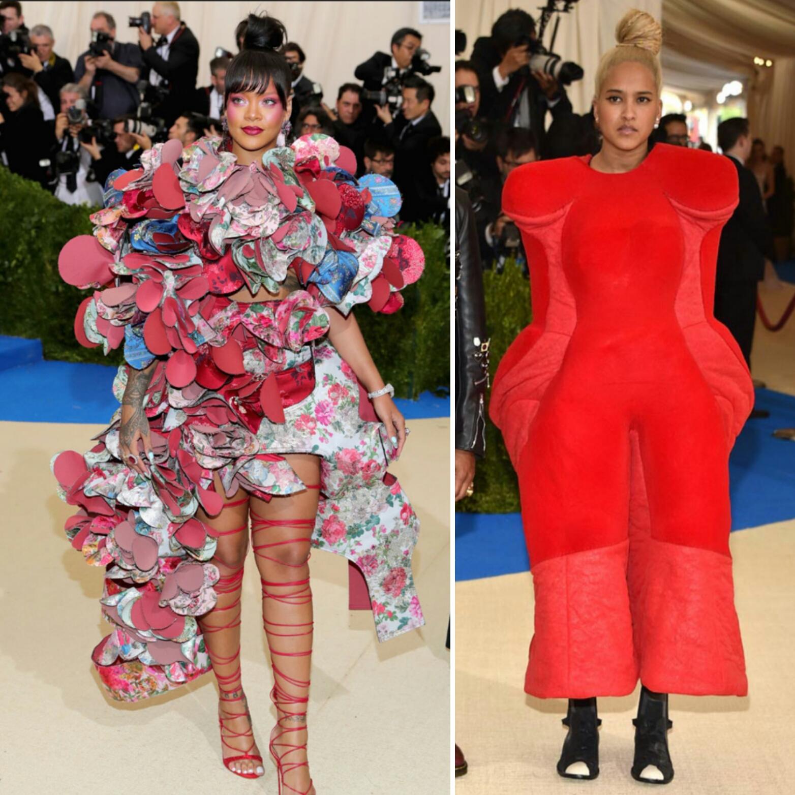 Rihanna y Helen Lasichanh, pareja del cantante Pharrell Williams apostaron por Comme des Garçons