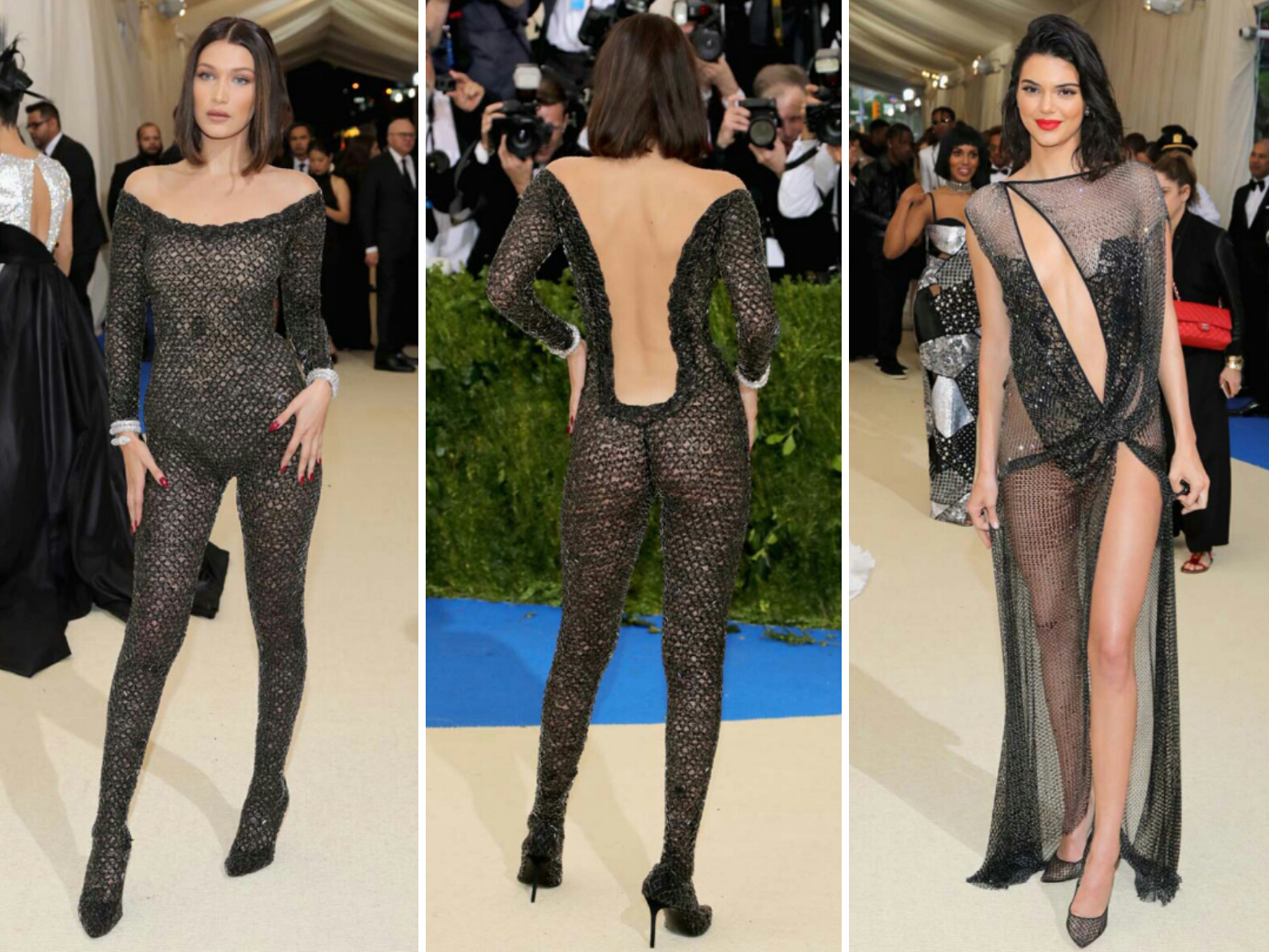 the-met-red-carpet 2017-Bella Hadid con un mono de Alexander Wang y Kendal Jenner con Haute Couture de La Perla-magazine-horse-2017