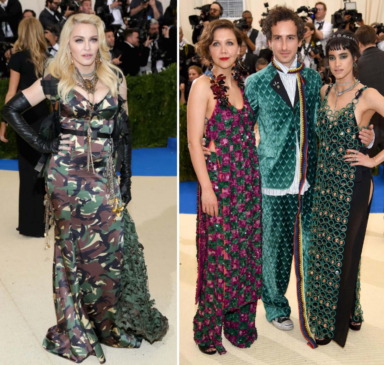 Madona con un vestido militar de Jeremy Scott y Maggie Gyllenhaal, Francesco Risso y Solia Boutella con diseños de Marni