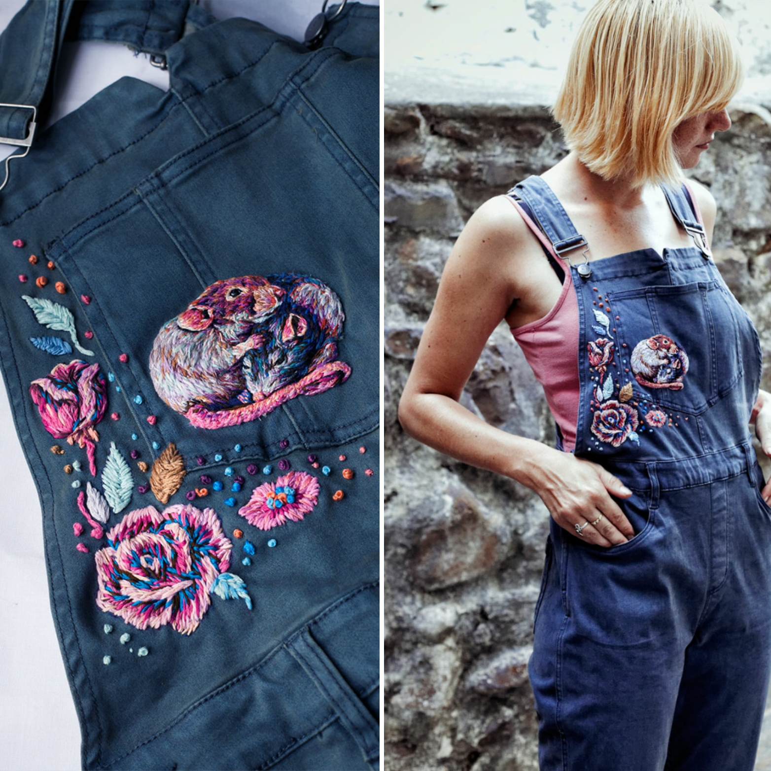 Danielle wearing a customized garment with her embroideries – Photo by Lesca Lea