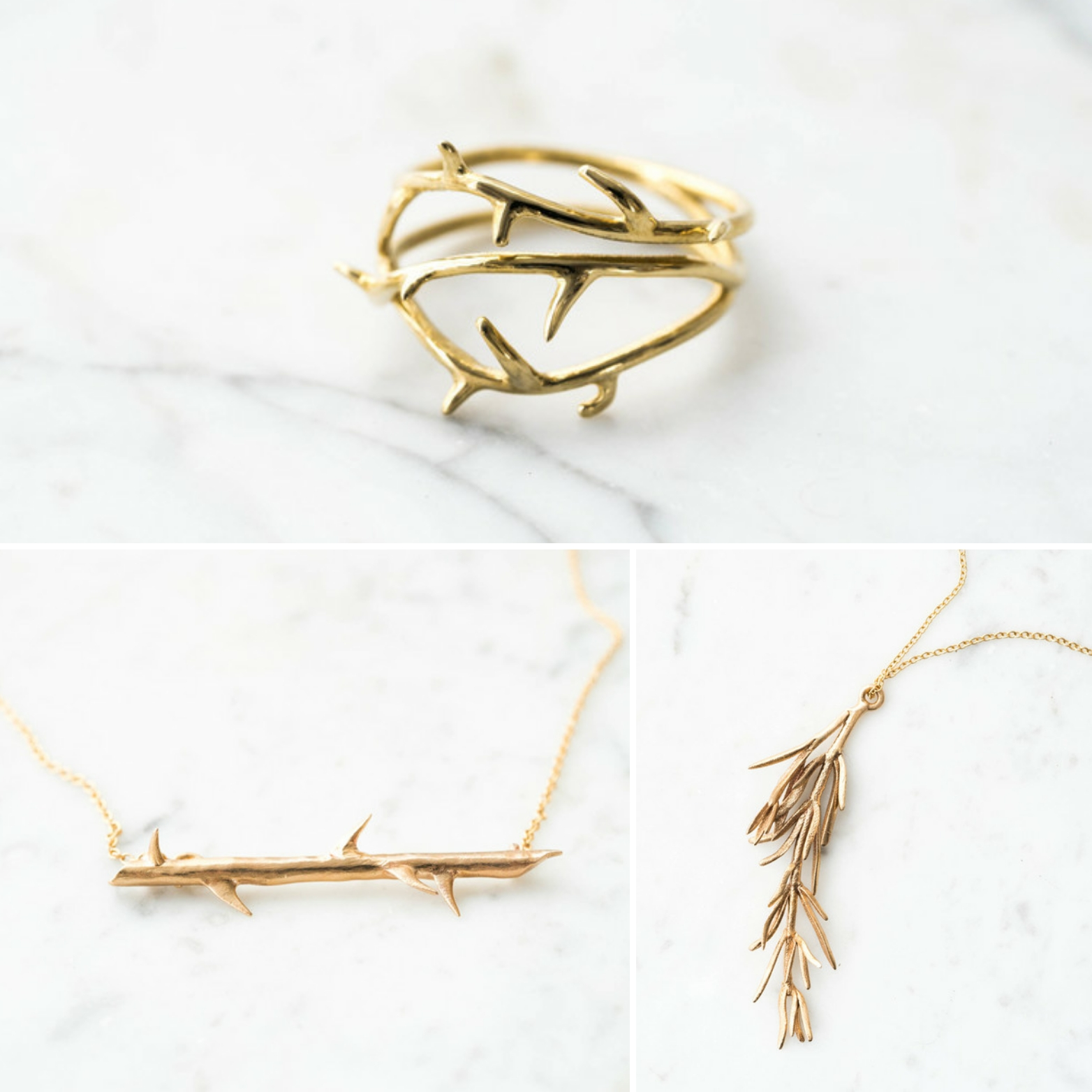 thorn Ring , down: thorn bar necklace and rosemary pendant