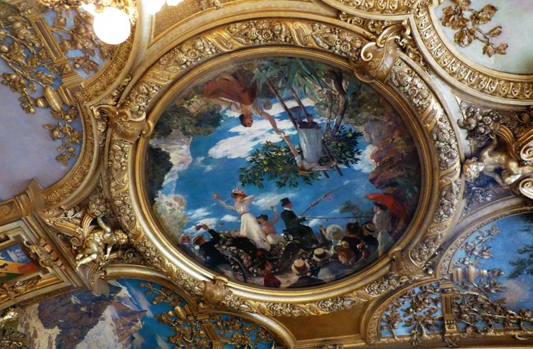 Paintings in the dome of one of the two dining rooms of the Train Bleu