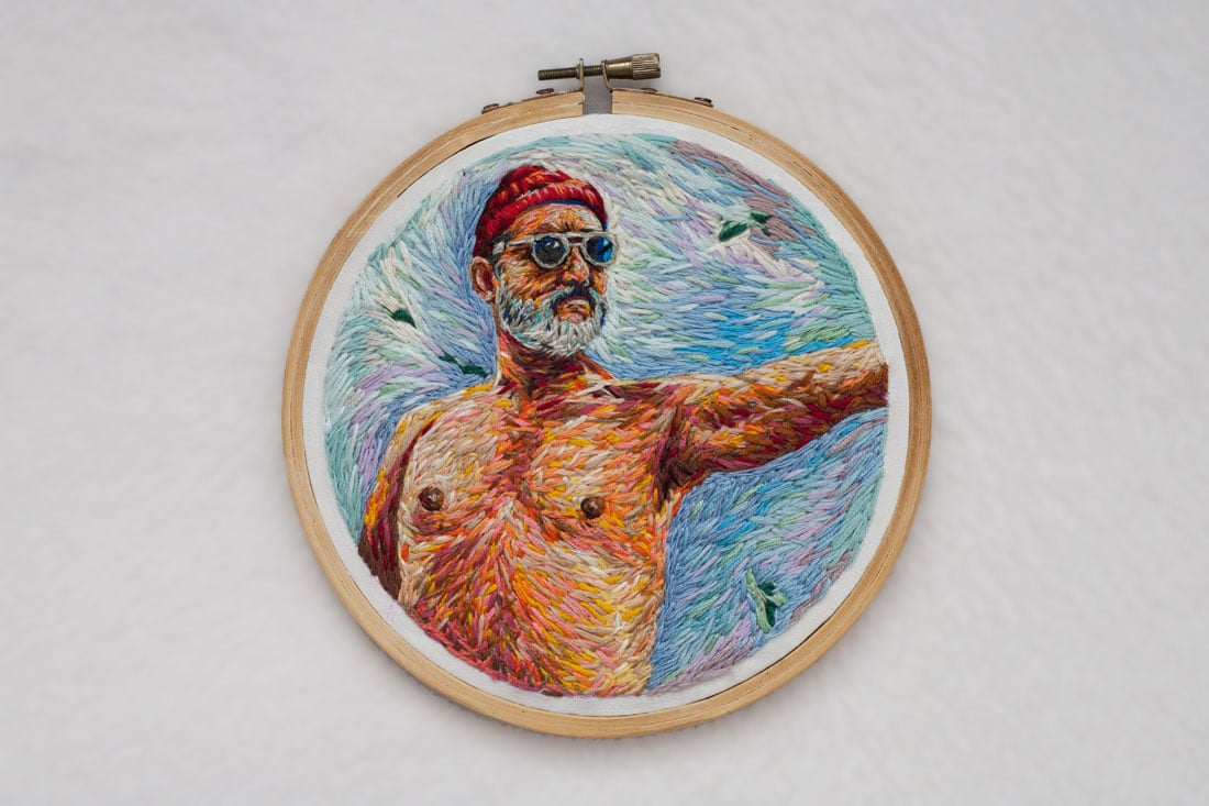 Steve Zissou's portrait and made into a poster of 600mm X 600mm