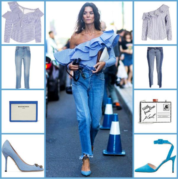 SELF-PORTRAIT Off-the-shoulder ruffled top €258 - ÉTOILE ISABEL MARANT Clancy cropped jeans €221 - BALENCIAGA Leather-trimmed canvas clutch €550 - GUCCI Dionysus suede pumps €701 | River Island Blusa FREIDA €42,95 - van Laack Blusa MARGO €179,95 - Guess Vaqueros slim fit MARYLIN €119,95 - KARL LAGERFELD Clutch €154,95 - Alberto Zago Tacones €169,95