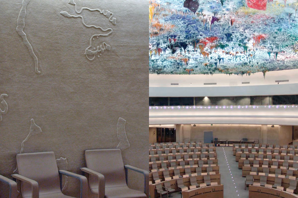 600 m2 de la gigantesca sala de la ONU fueron recubiertas por 80 alfombras de Nani Marquina. Vista general de la sala con la cúpula de Miquel Barceló.