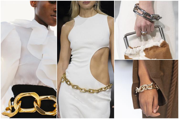 cadenas en cinturones y pulseras otoño-invierno 2020/2021