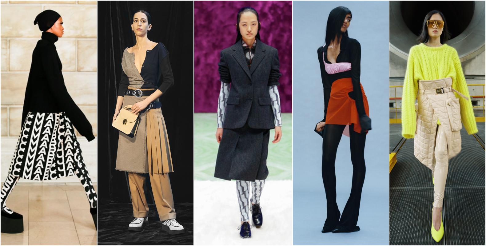 Falda con leggings tendencias de otoño 2021